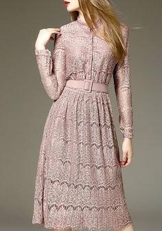 Charming Stand Collar Long Sleeve Women's Slimming Lace Dress