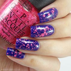 OPI On Pinks and Needles - is a glitter topper with neon pink, multi-sized hex glitters .( 1 coat plus top coat over OPI - My Car Has Navy-Gation) Opi Nail Polish, Opi Nails, Nail Polish Colors, Great Nails, Cute Nails, Bright Pink Nails, Stamping Nail Art, Pink Glitter, Baby Shower