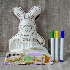 CRiações em família & cia - 1 coelha para pintar + 3 canetas + frete incluso [kit]