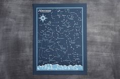 Brainstorm Northern and Southern Hemisphere Star Chart Screenprint Set