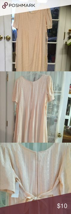"""VTG:Long dress-2/$ 12.00 Long dress made of eyelet material. Size 12 , two side strap 1-1/2 on the side to ribbon at the back for tighten up desire fitting .detachable pads included.Pin tacks on the front top all the way down waist line .51 """" long.Nwot Sarah Elizabeth Dresses Maxi"""