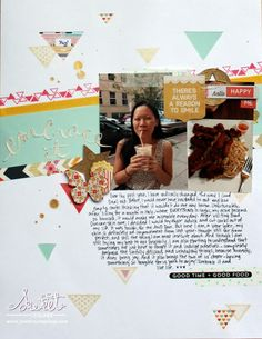 *Sweet Stamp Shop* Double Take | Using a sketch ~ Michelle Yuen #scrapbooking #triangles #confetti