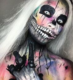 Is it Halloween yet? 💀🍭💘 . . . Colour pops are @urbandecaycosmetics  Fine black details are @katvondbeauty  Large black details are @bennyemakeup  White base + teeth are @mehronmakeup  Rings are @rogueandwolf . . . . #halloweenmakeup #sfxmakeup #chantalpaints #monstermakup #bodypainting #rogueandwolf #mehron #bennye #urbandecay #katvond #tattooliner #skullmakeup #skeletonmakeup