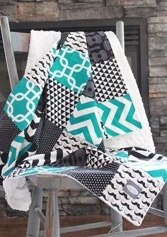 Patchwork Baby Blanket Modern Guitar Baby Quilt by GiggleSixBaby