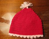Red with pink trim beanie hat