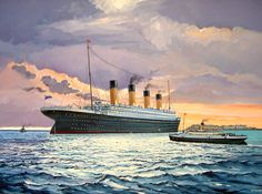 Portrait of Titanic at Cherbourg, France with the tender Nomadic bringing passenger out to the ship.