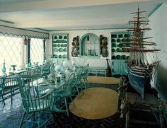 Beauport Gloucester,Ma one of five dinning room on the estate 27 year folly of additions, Majolica & Wedgwood grace trestle tables, While touring the house on a sunnyday this room full view on Eastern Point of the Harbor Historic New England, Historic Homes, Nautical Dining Rooms, American Houses, Historic Properties, Coastal Homes, Decoration, Home Goods, Sweet Home