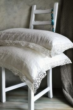 """Natural softened linen pillow case """"Provincial Living"""" with white linen lace. Natural linen bedding"""