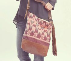 Bag made from recycled Japanese yukata kimono fabric in pink and Purple ikat