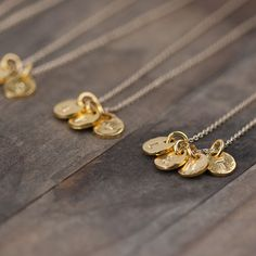 Gold Initial Necklace / Four 4 Letters Hand Stamped by burnish, $59.00 mama day or Christmas!!!
