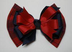 Royal Blue 3 Inch Handmade Glitter Gingham School Uniform Bow