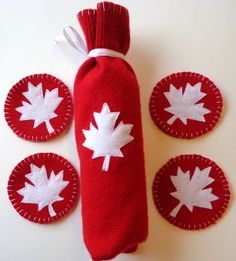 Items similar to Upcycled Wine Bottle Gift Bag, Hostess Gift, Wine Cozy and Coaster Set, Canada Day on Etsy Felted Wool, Wool Felt, Felt Purse, Canada Day, Blanket Stitch, Wine Gifts, Coaster Set, Hostess Gifts, Gift Bags