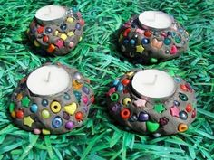 Mosaic Style Candle Holders (these would make wonderful gifts for families).  I love the idea of putting in a battery operated tea light so the children can enjoy these as well! :@)
