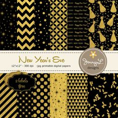 Black and Gold New Year's Eve Digital Papers by JennyLDesignsShop