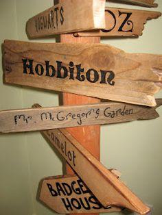 Eowyn's Nursery: Fairytale Signpost Bottom (Hogwarts, Oz, Hobbiton, Mr. McGregor's garden, Camelot, Badger's House)