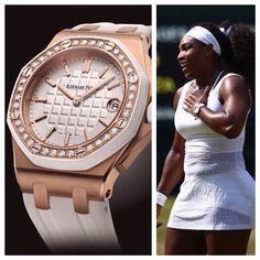 Serena Williams wears the Ladies Audemars Piguet Royal Oak Offshore as she wins her 21st Grand Slam championship at Wimbledon!