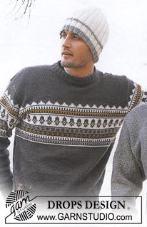 Outdoors - Men's knitted pullover with Nordic pattern in DROPS Karisma, plus hat in rib, in DROPS Alaska - Free pattern by DROPS Design Drops Design, Fair Isle Knitting Patterns, Knit Patterns, Knit Crochet, Crochet Hats, Crochet Beanie, Knit Hat For Men, How To Purl Knit, Free Knitting