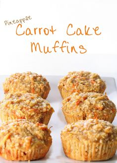 Use Coconut Oil - Pineapple Carrot Muffins - subbed coconut oil, and used an entire bag of baby carrots (grated) - 9 Reasons to Use Coconut Oil Daily Coconut Oil Will Set You Free — and Improve Your Health!Coconut Oil Fuels Your Metabolism! Muffin Recipes, Baking Recipes, Breakfast Recipes, Dessert Recipes, Breakfast Muffins, Breakfast Potatoes, Clean Recipes, Sweet Recipes, Cake Recipes