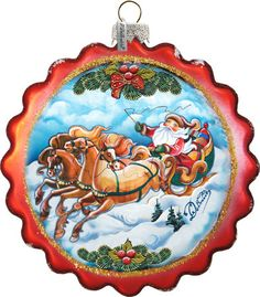 Hand Painted Sleigh Ride Flower Glass Scenic Ornament - Traditional - Christmas Ornaments - by G. Traditional Christmas Ornaments, Blown Glass Christmas Ornaments, Flower Ornaments, Hand Painted Ornaments, Santa Ornaments, Handmade Ornaments, Holiday Ornaments, Christmas Balls, Silver Spray