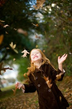 """Reminds me of when my sister sent a big box of fall leaves to my Florida classroom, and the kids threw them up in the air at recess shouting, """"Happy new year! Bonheur Simple, Autumn Photography, Fall Photos, Fall Pics, Fall Pictures, Amazing Pictures, Random Pictures, Poses, Inner Child"""