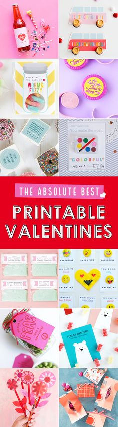 The absolute best printable Valentines for school kids, with lots of non-candy Valentine ideas. Print them all for free! DIY school Valentines are the best.