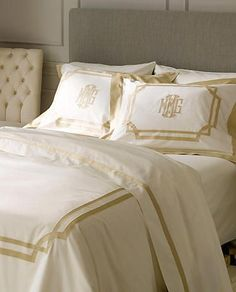 Exquisite French Salon Style duvet covers and bed shams with applique monogramming. www.bellalino.com