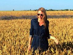jeans dress, aviator sunglasses and fields of gold <3