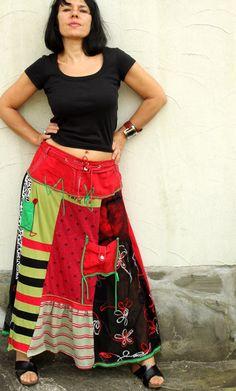L-XL Crazy pop art patchork recycled long skirt por jamfashion