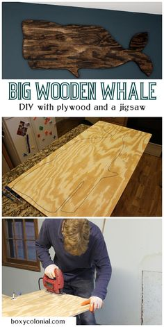 $11 Big Wooden Whale: make it yourself with plywood and a jigsaw