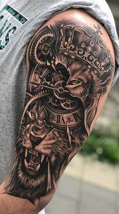 70 Female and Male Lion Tattoos Bicep Tattoo Men, Lion Forearm Tattoos, Lion Head Tattoos, Mens Lion Tattoo, Tattoo Tribal, Male Tattoo, Armor Tattoo, Warrior Tattoos, Norse Tattoo