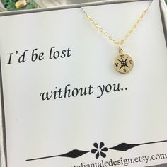Wish | Compass Necklace, Travelers Necklace, Best Friend Gift, Gold Compass, Wife Gift, Couple, Birthday Gift, Christmas Gift, Gold Filled, Charm