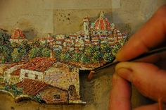 """Micromosaic or minute mosaic - done by hand using spun enamel glass """"wands"""" that are 2-3mm wide and 1mm thick and make tiny little pictures."""