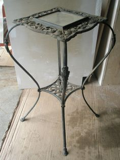 Antique Wrought Iron Table Ornate Scroll Plant Stand Leaded Glass Inset