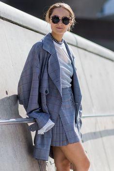 Daria Shapovalova wears a Jacquemus check coat and skirt. #refinery29 http://www.refinery29.uk/2016/10/126995/street-style-seoul-fashion-week#slide-20