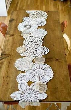 Table runner made from vintage doilies
