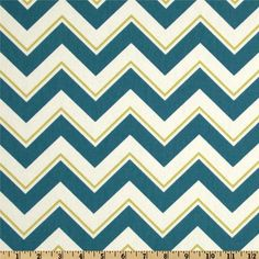 Suburban Chevrama Seaport: chevron fabric in teal, ivory and yellowy-lime