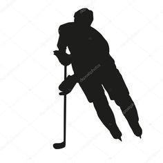 Télécharger - Silhouette de vecteur pour le joueur de hockey sur — Illustration #64999505