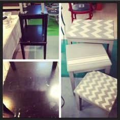nesting table makeover with paris grey chalk paint by annie sloan and chevron stencil in