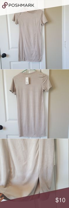 """*3 FOR 20* NWT T-shirt Dress Suede-like material, form fitting dress with a small slit over the left thigh.  Bundle w/ 2 other items marked """"*3 for 20*"""" and offer $20 & I'll accept! Necessary Clothing Dresses Mini"""