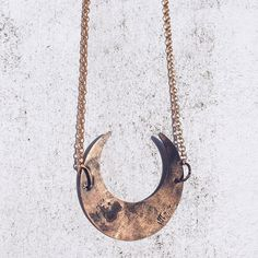 Little Brass Crescent Necklace from the Voyager Line ✨shoptectonic.com/store  #crescent #moon #necklace #voyager #space #patina