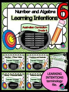 LEARNING INTENTIONSThis packet has all the posters you will need to display the learning INTENTIONS for Grade 6 Australian Curriculum Maths Number and Algebra. All content descriptors have been reworded into smart goals with an accompanying poster showing the success criteria needed to achieve these goals.