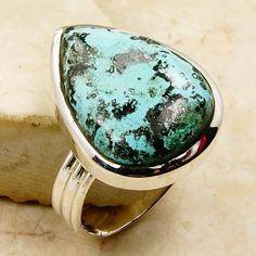Blue Ocean Chrysocolla Ring & .925 Sterling Silver Ring Size 8.5 - Emavera - 1