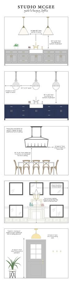 Studio McGee   Guide to Hanging Lights - great tips on how to know how high to hang various light fixtures.