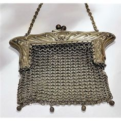 Antique German Silver Purse Art Nouveau 1900s Victorian Coin Purse... ($49) ❤ liked on Polyvore featuring bags, handbags, clutches, bridal clutches, metal mesh purse, silver handbags, silver clutches and antique metal purse