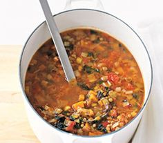 Winter Lentil Soup  with kale, lentils, and sweet potatoe (I'm substituting butternut squash)