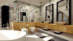 Wystrój przestronnej łazienki oparto na mocnych kontrastach kolorystycznych i stylowych. Żarówki na czarnych długich...