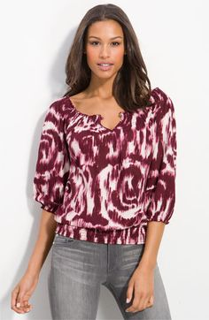 """@Lucky Brand """"Mena"""" #peasant top, is a lushious rusty berry even contrast in the name. Look good on any skin tone"""