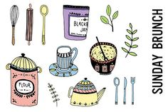Brunch Clipart, Cooking Doodles by Pepper on @creativemarket