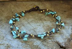 Turquoise Brass Tie Anklet