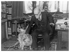 CELEBRITY CHOWS - WORLDCHOW archives- 1937 SIGMUND FREUD ANALYST W/ CHOW DOG IN STUDY Sigmund Freud in his study with his dog, Jo-Fi, 1937. Freud felt that dogs had a special sense that allows them to judge a person's character accurately. For this reason his favorite chow-chow, Jo-Fi, attended all of his therapy sessions; Freud admitted that he often depended upon Jo-Fi for an assessment of the patient's mental state.